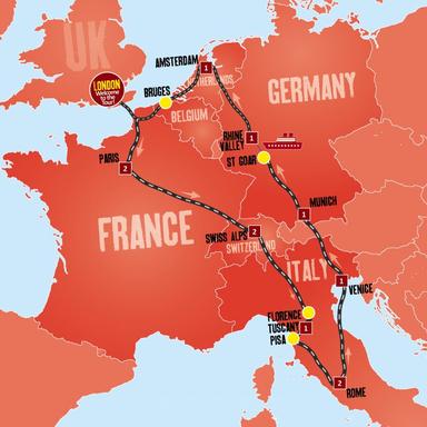 12-Day Europe Tour from London: Paris - Venice - Munich - Amsterdam